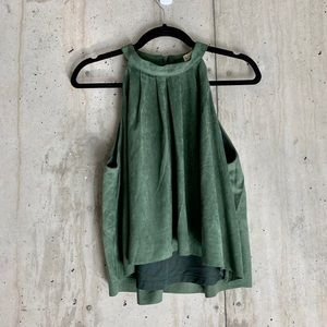 Olive Green Suede High Neck Top